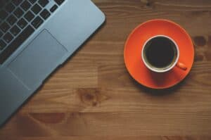 cup of coffee, laptop, office